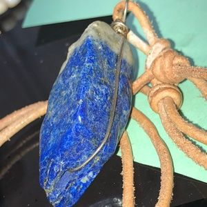 Vintage Jewelry - Rough Lapis Pendant on Leather